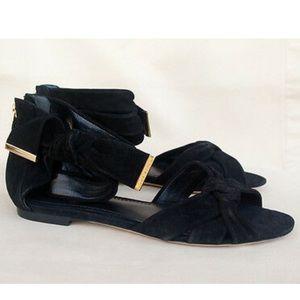 Louis Vuitton black suede cocktail flat sandals